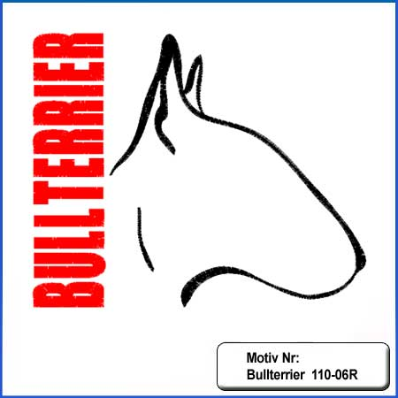 Hunde Motiv Bullterrier Motiv gestickt Stickerei Bull Terrier mit Herz gestickt