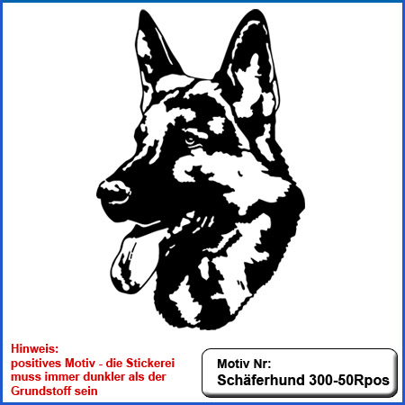 Hunde Motiv Schaeferhund Deutscher Schäferhund Kopf SV Kopf sticken gestickt Stickerei DSH Schäferhund German Shepherd sticken