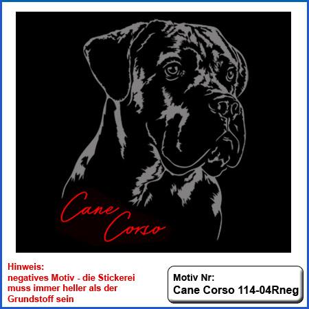 Cane Corso Hunde Motiv Kopfmotiv sticken Cane Corso Kopf Strichzeichnung Stickerei mit Cane Corso und Schriftzug Cane Corso