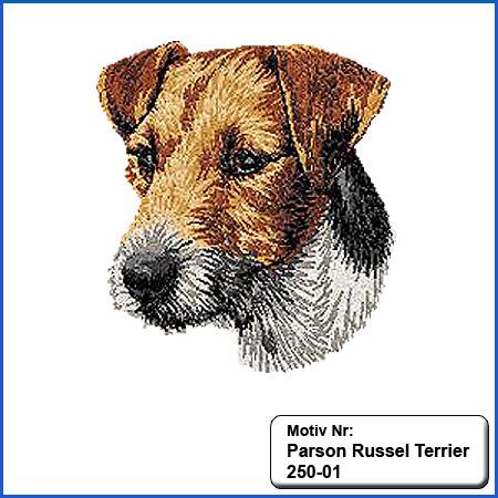 Hunde Motiv Parson Russel Terrier Kopf Motiv gestickt Stickerei Parson Russel Terrier gestickt