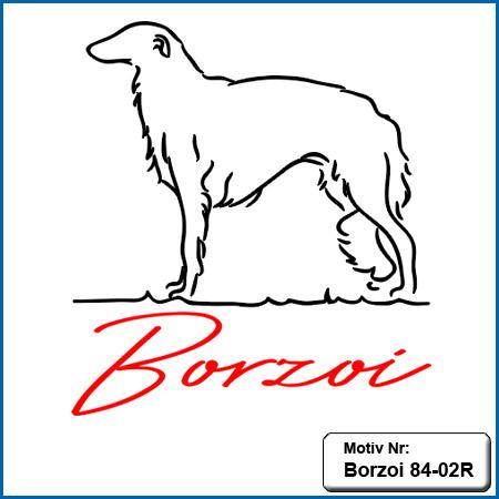 Hunde Motiv Borzoi gestickt Stickerei Borzoi sticken