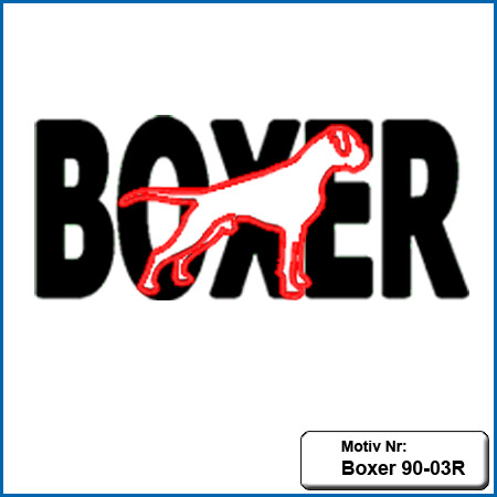 Hunde Motiv Deutscher Boxer gestickt Stickerei Boxer sticken Rückenstickerei Boxer Hundemotiv