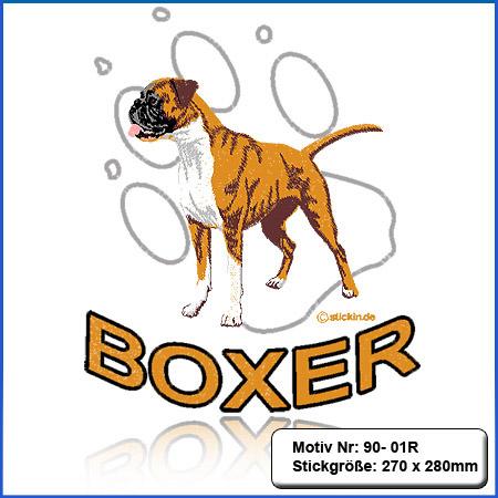 Hunde Motiv Deutscher Boxer mit Pfote gestickt Stickerei Boxer sticken