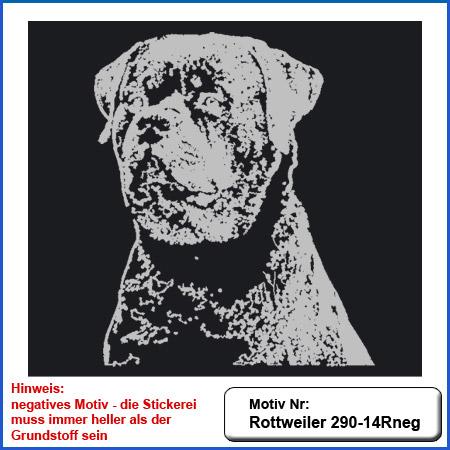 Hunde Motiv Rottweiler Kopf Motiv gestickt Stickerei Rottweilerkopf  sticken