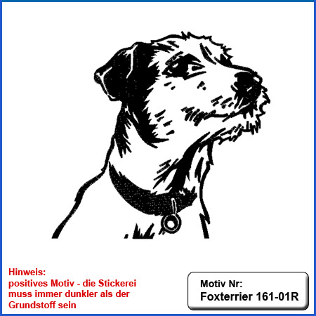 Hunde Motiv Foxterrier Stickerei Foxterrier sticken