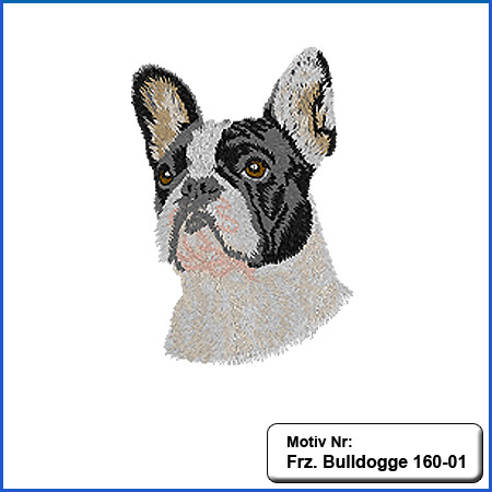 Hunde Motiv Französiche Bulldogge Kopf Stickerei french Bulldog sticken