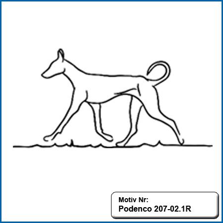 Hunde Motiv Podenco stehend Motiv gestickt Stickerei Podenco gestickt