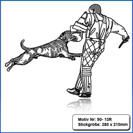 Hunde Motiv Deutscher Boxer Schutzdienst gestickt Stickerei Boxer im Schutzdienst IGP einfarbig gestickt