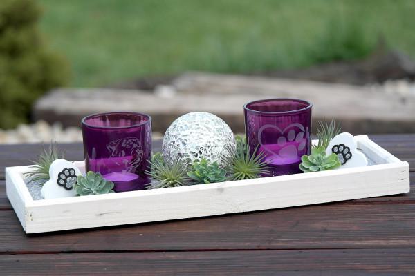 2er Set Tischgesteck - Glas Windlicht mit Gravur