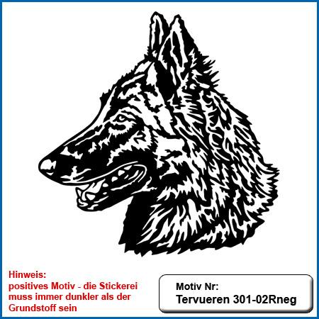 Hunde Motiv Tervueren sticken gestickt Stickerei Tervueren Kopf Tervueren sticken