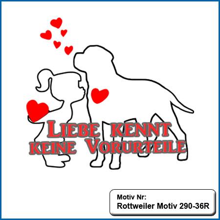 Hundemotiv Rottweiler mit Herz und kleines Maedchen sticken echte Stickerei kein Druck Hunde Motiv Rottweiler mit Herz