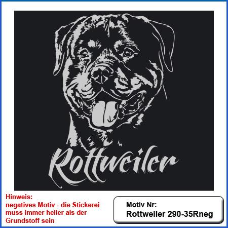 Hunde Motiv Rottweiler Kopfmotiv gestickt Stickerei Rottweiler sticken
