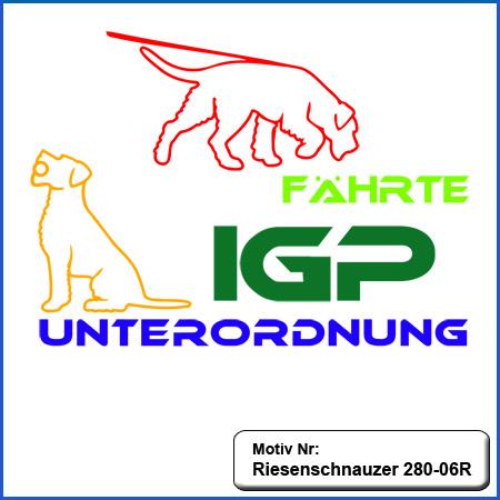 Hunde Motiv Riesenschnauzer Schutzdienst Motiv gestickt für Stickerei Riesenschnauzer IGP Riese gestickt