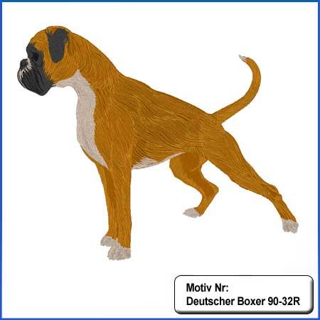Hunde Motiv Deutscher Boxer gelb stehend gestickt Stickerei Boxer Hündin sticken Boxer dunkelgestromt Hundemotiv
