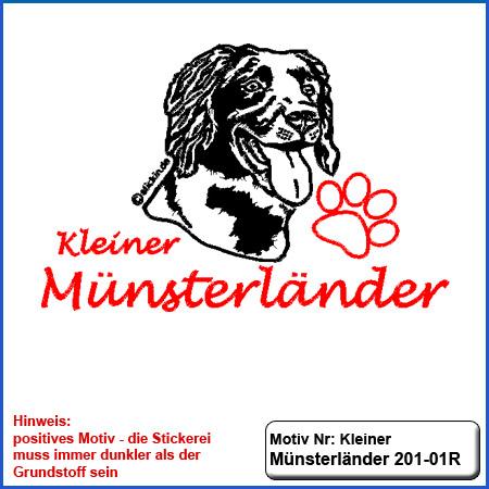 Hunde Motiv KLEINER MÜNSTERLÄNDER Stickerei KLEINER MÜNSTERLÄNDER sticken mit Schriftzug