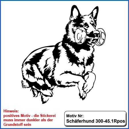 Hunde Motiv Schaeferhund Deutscher Schäferhund springend Hürde Bringholz gestickt Stickerei DSH Schäferhund German Shepherd sticken