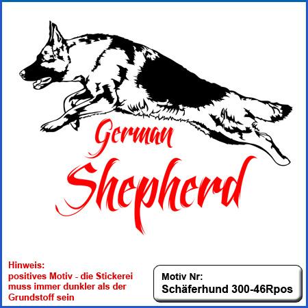 Hunde Motiv Schaeferhund Deutscher Schäferhund springend gestickt Stickerei DSH Schäferhund German Shepherd sticken