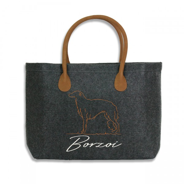 Classic Filz Shopper mit BORZOI Stickerei