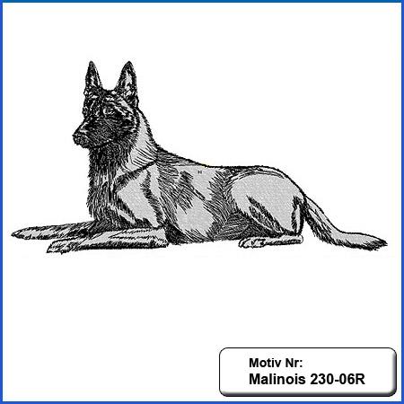 Hunde Motiv MALINOIS liegend Stickerei Malinois Mali Belgian Malinois sticken Malinois Schutzhund