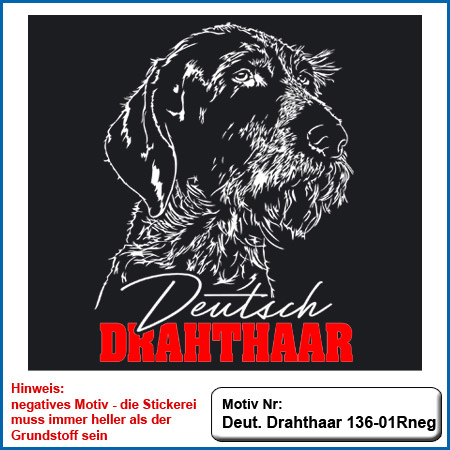 Hunde Motiv Deutsch Drahthaar Stickerei Deutsch Drahthaar sticken auf dunkle Bekleidung Hundesport Bekleidung mit Deutsch Drahthaar besticken