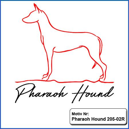 Hunde Motiv Pharao Hound stehend Motiv gestickt Stickerei Pharao Hound gestickt