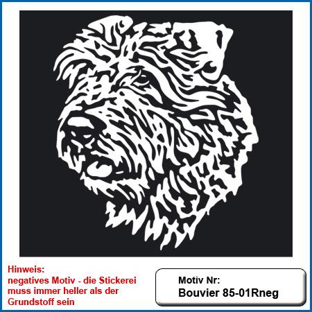 Hunde Motiv Bouvier Kopf gestickt Stickerei Bouvier sticken