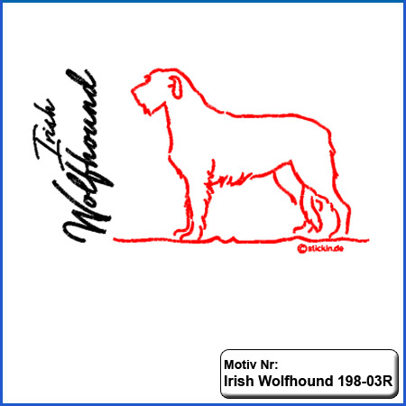 Hunde Motiv Irish Wolfhound stehend Stickerei Irish Wolfhound sticken mit Schriftzug