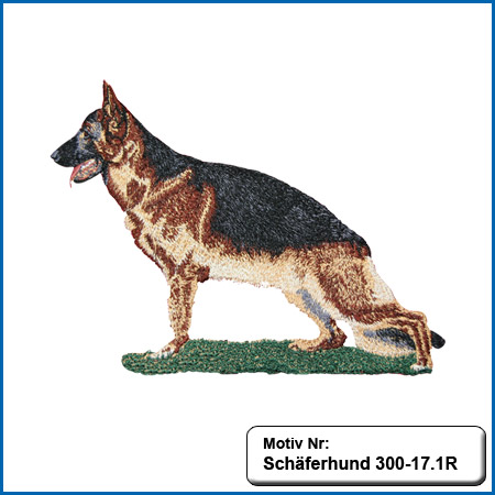 Hunde Motiv Schaeferhund Deutscher Schäferhund sticken gestickt Stickerei DSH Schäferhund komplett gestickt German Shepherd sticken