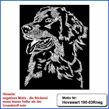Hunde Motiv Hovawart Stickerei Hovawart Kopf einfarbig sticken