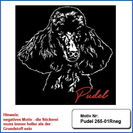Hunde Motiv Pudel Motiv gestickt Stickerei Pudel Kopf Stickerei