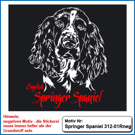 Springer Spaniel Stickerei Springer Spaniel sticken Springer Spaniel gestickt