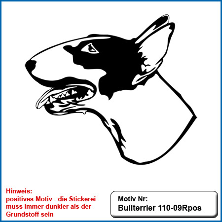 Hunde Motiv Bullterrier Motiv gestickt Stickerei Bull Terrier sticken Bullterrier stehend besticken Bullterrier Kopf sticken