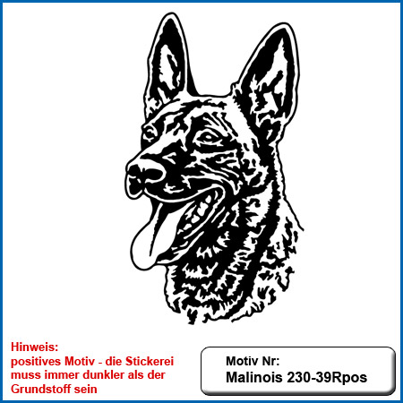 Hunde Motiv MALINOIS Kopf auf helle Textilien Stickerei Malinois Mali Belgian Malinois sticken Malinois Hundesport Bekleidung mit Malinois Schutzdienst besticken
