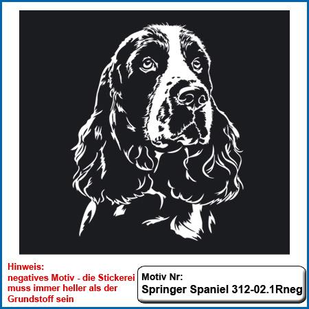 Springer Spaniel Stickerei Springer Spaniel sticken Springer Spaniel Kopfmotiv Kopf gestickt