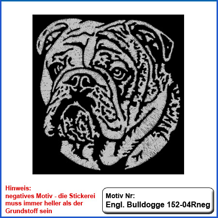 Hunde Motiv Englische Bulldogge Stickerei English Bulldog sticken negatives Motiv für dier Stickerei in silber
