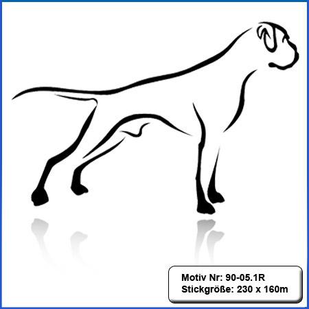 Hunde Motiv Deutscher Boxer stehend gestickt Stickerei Boxer sticken Boxer Hundemotiv