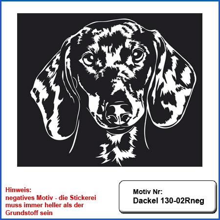 Hunde Motiv Dackel Stickerei Dackel Kopf gestickt Dackel besticken