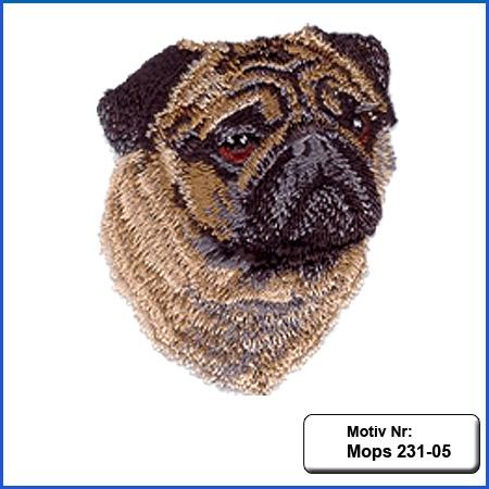 Hunde Motiv Mops Kopf Motiv gestickt Stickerei Mops sticken