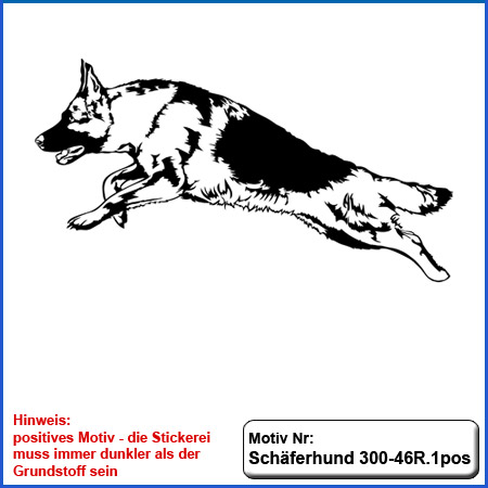 Hunde Motiv Schaeferhund Deutscher Schäferhund stehend gestickt Stickerei DSH Schäferhund German Shepherd sticken
