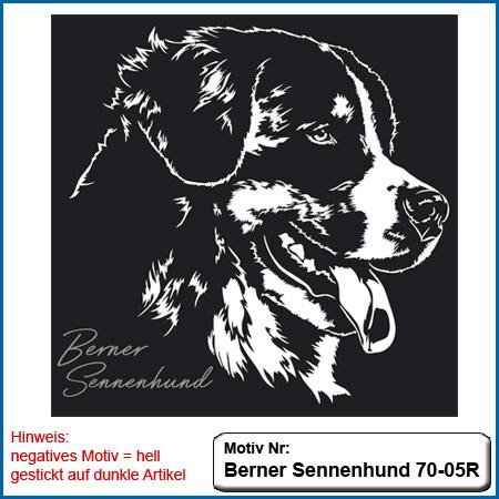 Hunde Motiv Berner Sennenhund einfarbig mit Schriftzug sticken besticken