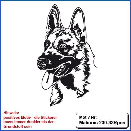 Hunde Motiv MALINOIS Stickerei Malinois Mali Belgian Malinois sticken Malinois Hundesport Bekleidung mit Malinois besticken
