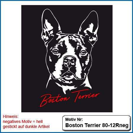 Hunde Motiv Boston Terrier Kopf gestickt Stickerei BostonTerrier sticken