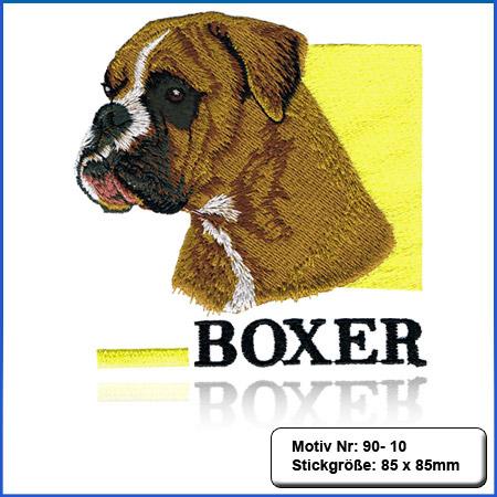 Hunde Motiv Deutscher Boxer gelb gestickt Stickerei Boxer Kopf sticken Boxer gelb Hundemotiv