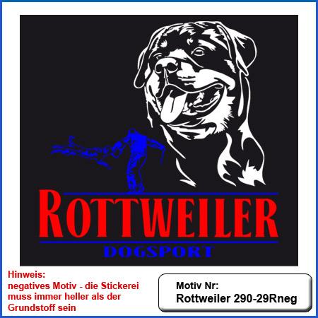Hunde Motiv Rottweiler Kopfmotiv Schutzdienst gestickt Stickerei Rottweiler IGP sticken