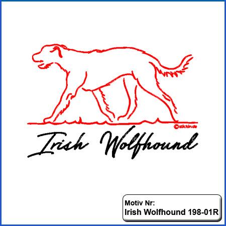 Hunde Motiv Irish Wolfhound Stickerei Irish Wolfhound sticken mit Schriftzug Hundesport Bekleidung sticken mit Irish Wolfhound