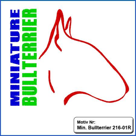 Hunde Motiv Miniature Bullterrier Motiv gestickt Stickerei Miniature Bull Terrier Kopf gestickt