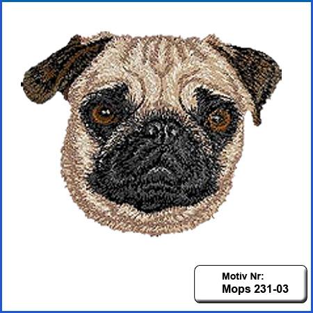 Hunde Motiv Mops Kopf Motiv gestickt Stickerei Mops gestickt