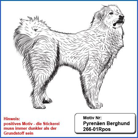 Hunde Motiv Pyrenäischer Berghund  stehend Motiv gestickt Stickerei Pyrenäischer Berghund 266-01Rpos gestickt