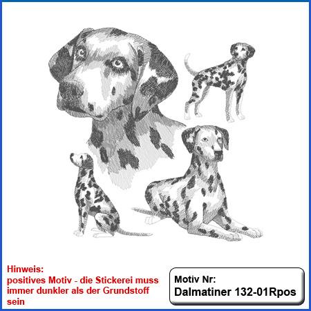 Hunde Motiv Dalmatiner Motiv gestickt Stickerei Dalmatiner gestickt