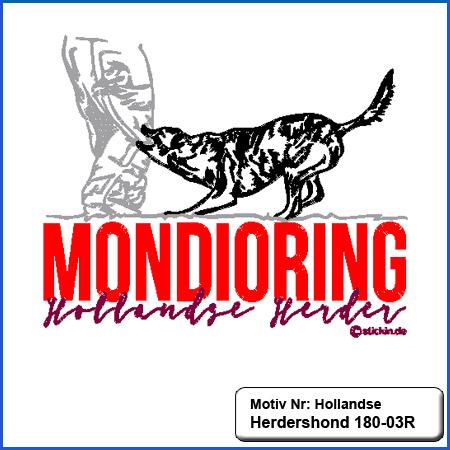 Hunde Motiv Großer Hollandse Herdershond  Stickerei Hollandse Herdershond  und Schriftzug Mondioring  sticken